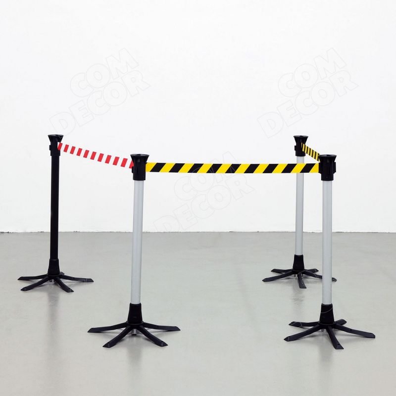 Barrier poles with retractable barrier belt