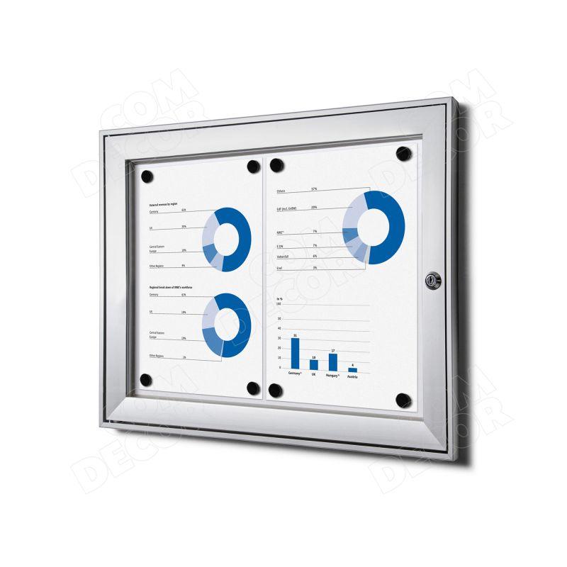 Lockable notice board / bulletin board A3