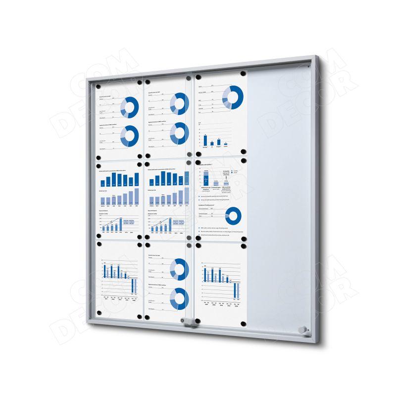 Notice board / bulletin board with sliding door