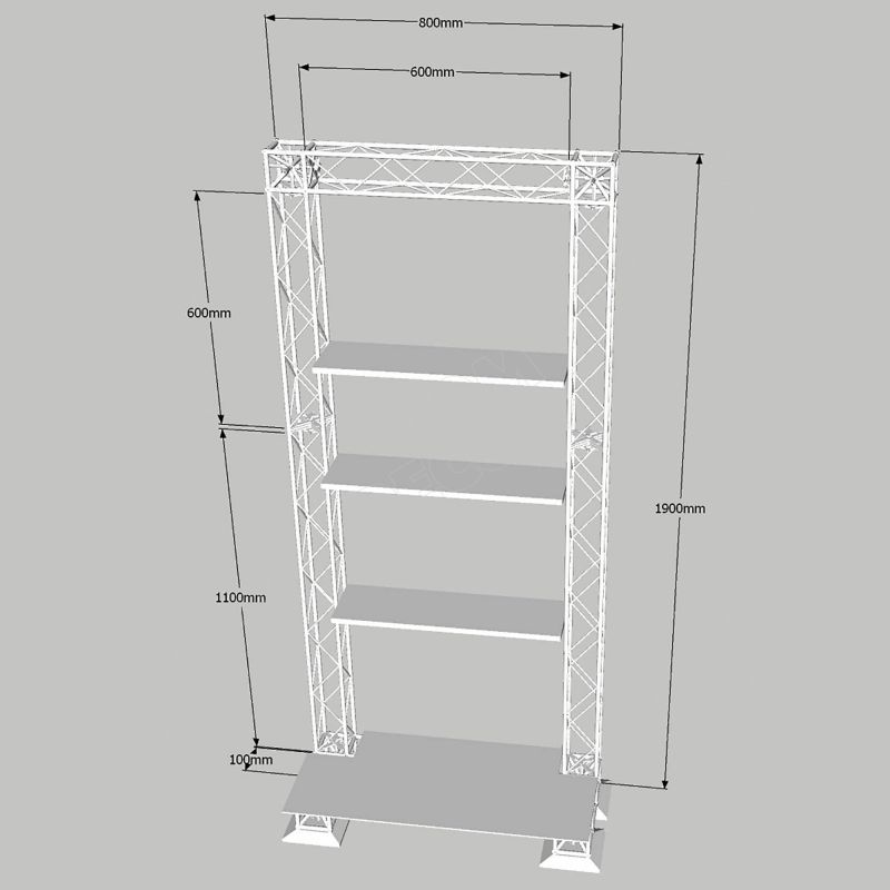 Stand with shelves - X10 truss